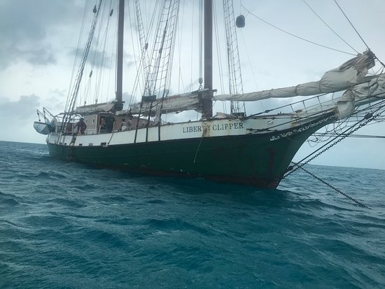 Liberty Fleet of Tall Ships: Liberty Clipper anchored while we snorkel and kyack