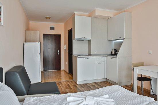 Shkorpilovtsi, Bulgaria: Al Rial Beach_apartment_studio_kitchen