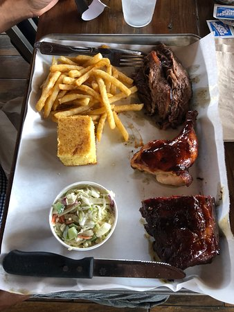 Norco, CA: triple threat combo. brisket, darkmeat chicken and baby back ribs