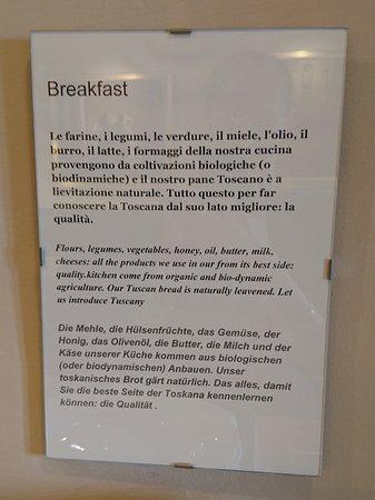 Locanda Viani: Information about the organic breakfast foods