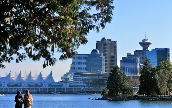 North Vancouver, Canada: View of Vancouver's Coal Harbour from Stanley Park.