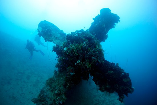 Micronesia: divers exploring a propeller