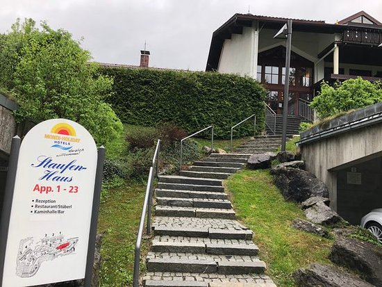 Axams, Austria: Our room was just behind the hedge on the left in a nice garden.
