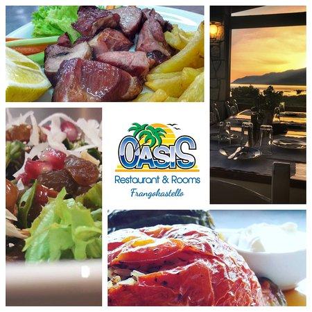 Oasis Taverna: Oasis Restaurant-Rooms Frangokastello