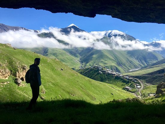 Khinalug, Azerbaijan: View of the Khinalig and around from the inside of small cave.