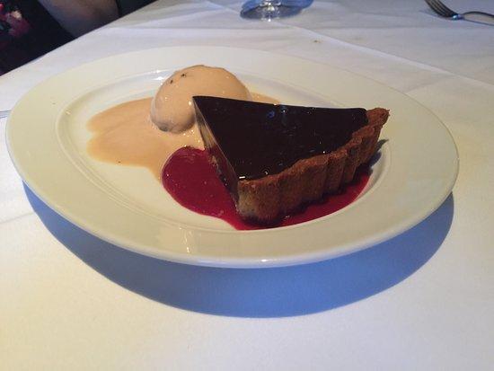 Steak 44: Chocolate torte with raspberry sauce and salted caramel sorbet.
