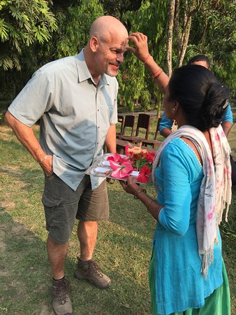 Bardia National Park, Nepal: Receiving Tilaka mark before departing Rhino Lodge