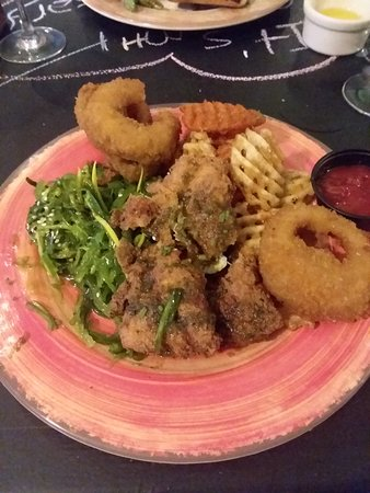 Beverly, MA: Fried cod, frings, sea cucumber and seaweed salad
