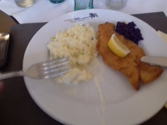 Mutejovice, Czech Republic: Disgusting, milk (hopefuly) from mashed potatoes running over the edge of the plate, oversalted.
