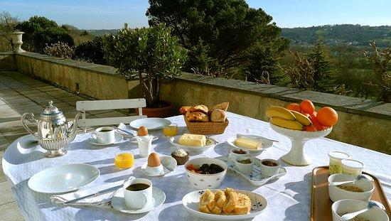 Chateau Haute Roche: Le petit déjeuner sur la terrasse