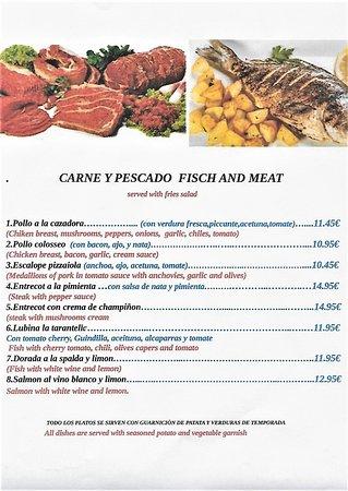 Formentera Del Segura, สเปน: menu carne y pescado