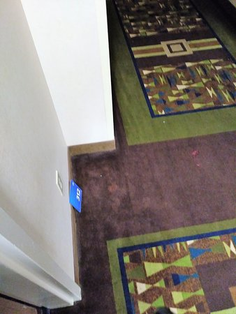 Merrillville, IN: Several room signs in the hall fell repeatedly. They were taped on with foam tape.
