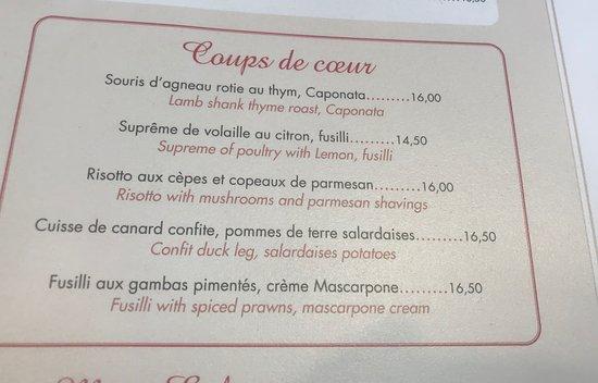 La Tour de Nesle: menu