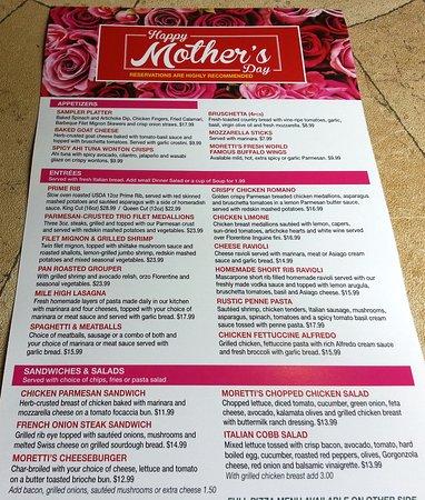 Morton Grove, IL: Mother's Day menu at Moretti's