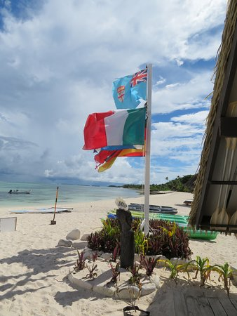 Yasawa Islands, Fiji: Flags from the guests country of origin are flown.