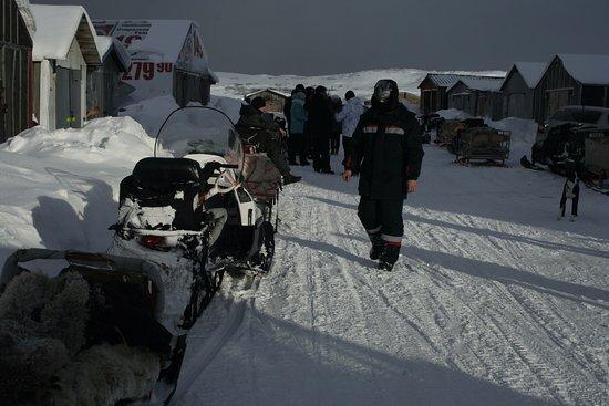 Teriberka, รัสเซีย: Местные жители катают туристов в санях, прикреплённых к снегоходу.