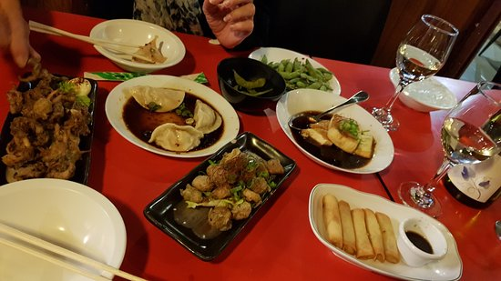 Cha Cha Japanese Restaurant: agedashi tofu, fried scallops with wasabi, spring rolls, chilli dumplings, deep fried baby octop