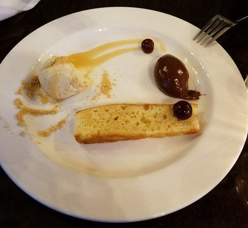 Tuthill House at the Mill : Whiskey flight dessert sampler (ice cream partially eaten)