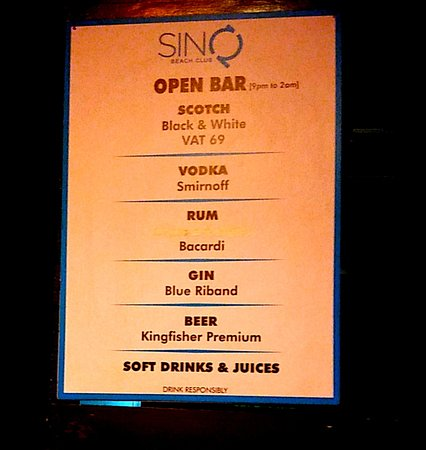Open Bar Details Picture Of Sinq Night Club Candolim