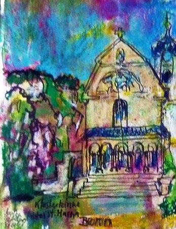 Beuron, Germany: Abteikirche St. Martin, im Hintergrund die herrliche Landschaft