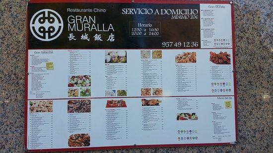 Carta Gran Muralla Restaurante Chino Picture Of Gran Muralla Restaurante Chino Cordoba Tripadvisor
