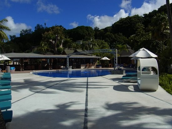 Coco de Mer - Black Parrot Suites: Main pool is in the shape of a coco de mer
