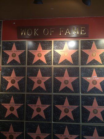 "Fort Mitchell, KY: The ""Wok of Fame"" lists names of local and national celebrities who come here often"