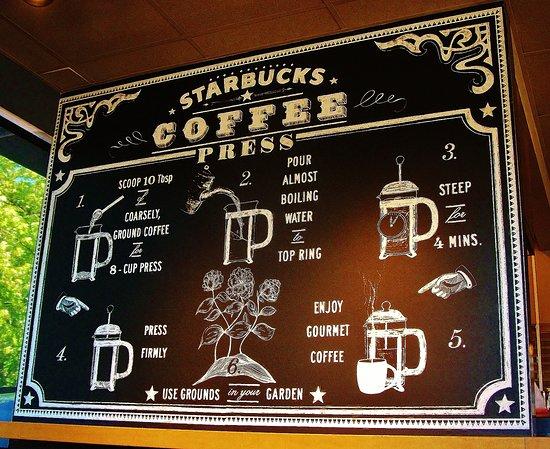 เกรชัม, ออริกอน: Starbucks information board about coffe