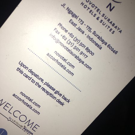 Novotel Surabaya Hotel and Suites: Card