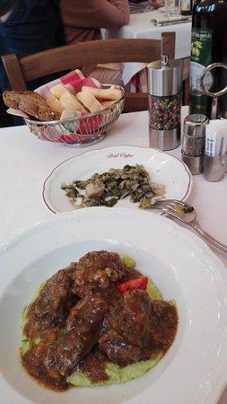Antica Osteria Dal Capo: Pork cheeks on a creamy green polenta...delicious!