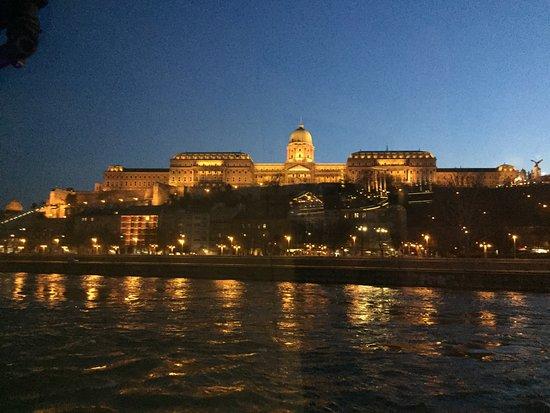 Korzo - Danube Embankment (Dunakorzó): Evening views toward Buda and Castle Hill