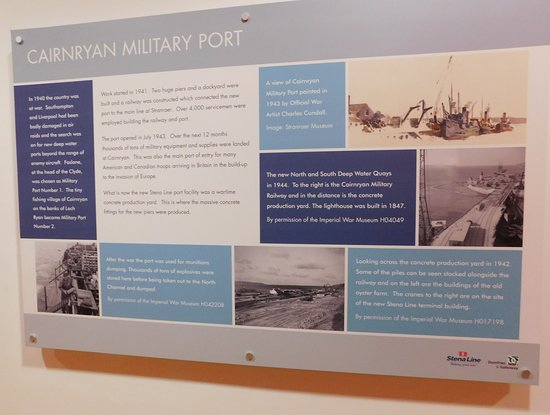 Poster about history of Cairnryan in terminal building