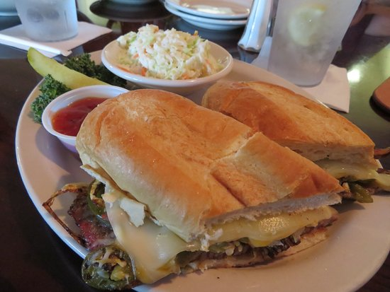 Etowah, TN: Texas Brisket Sandwich with cheese, grilled onions and coleslaw