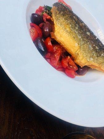 Cafe Hampstead: Pan Fried Sea Bass, Tomatoes, Kalamata Olives and Basil