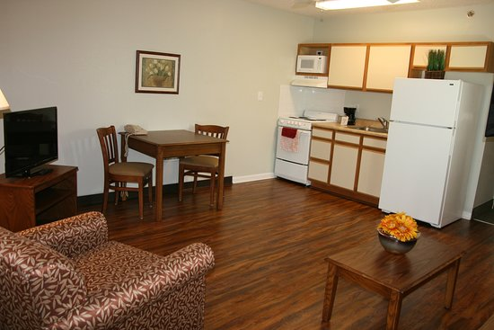 Affordable Suites of America, Greenville: all 1 bedroom suites have a full kitchen, tvs in both living area and bedroom, free wifi