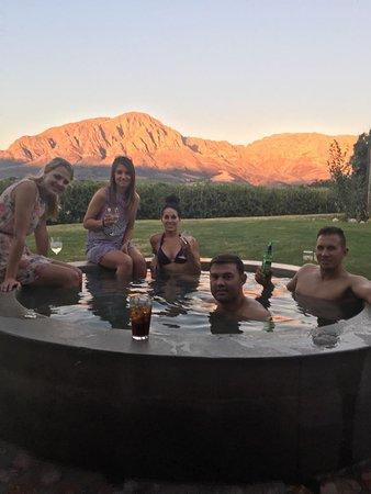 Breede River, South Africa: Friends enjoying the Turkish Bath at Merlot Cottage