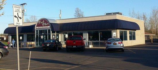 front of, parking lot & entrance to Park Place Restaurant