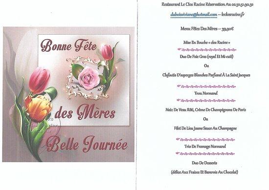 Gaillon, France: menu de la fêtes des mères