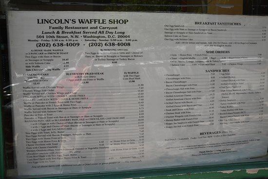 Lincoln's Waffle Shop: Menu