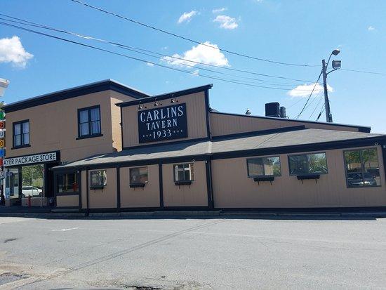 Historic exterior of Carlins Restaurant, Ayer Ma