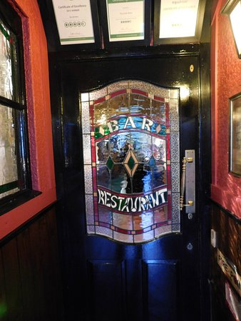 The Irish Arms: Interesting stained glass panel in door