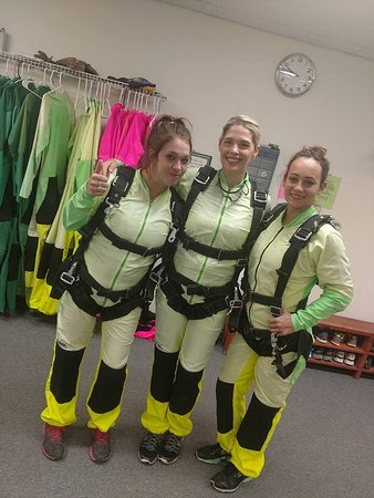 Fentress, TX: Me and the girls gearing up before the jump.