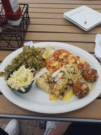 Redington Shores, Флорида: Mahi Mahi, grilled shrimp, coleslaw, conch fritters and brussel sprouts.