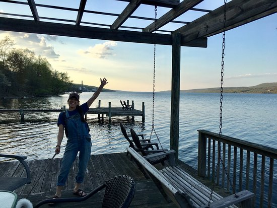 Admiral Peabody's Lakeside Lodging: Admiral Peabody's Private dock on Seneca Lake! There are also other patio chairs and tables!