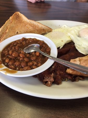 Chelmsford, MA: eggs and corned beef hash with beans