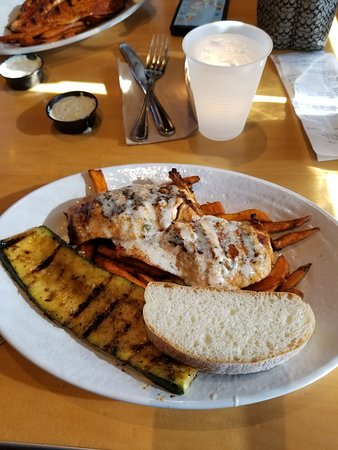 Fountain Valley, CA: Atlantic salmon, grilled zucchini, and sweet potato fries
