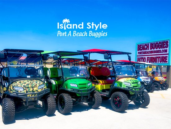 Port Aransas, Teksas: Port A Beach Buggies has new fun custom color golf carts.