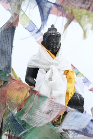 Gosainkund, Nepal: Lord Buddha with Prayer Flages
