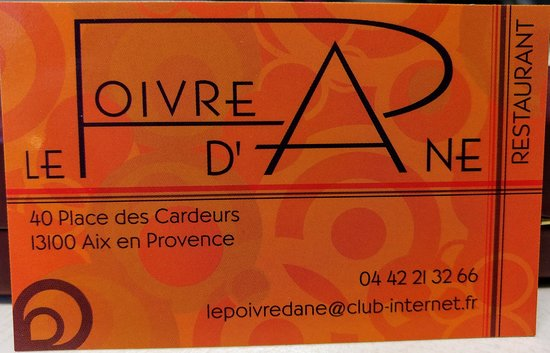la carte de visite photo de le poivre d 39 ane aix en provence tripadvisor. Black Bedroom Furniture Sets. Home Design Ideas
