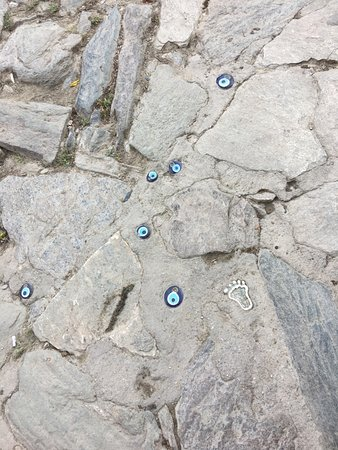 Sirince, Turkey: evil eye on cobble stone street, Srince Village